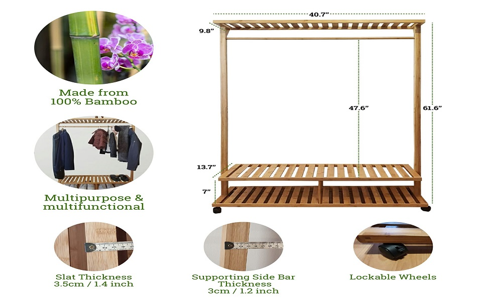 Infographic displaying clothes rack many features like wheels, sturdiness, multi use, bamboo made