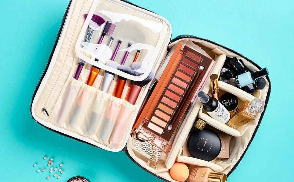 makeup travel case, quilted cosmetic bag, travel makeup organizer, womens makeup bag, makeup bag
