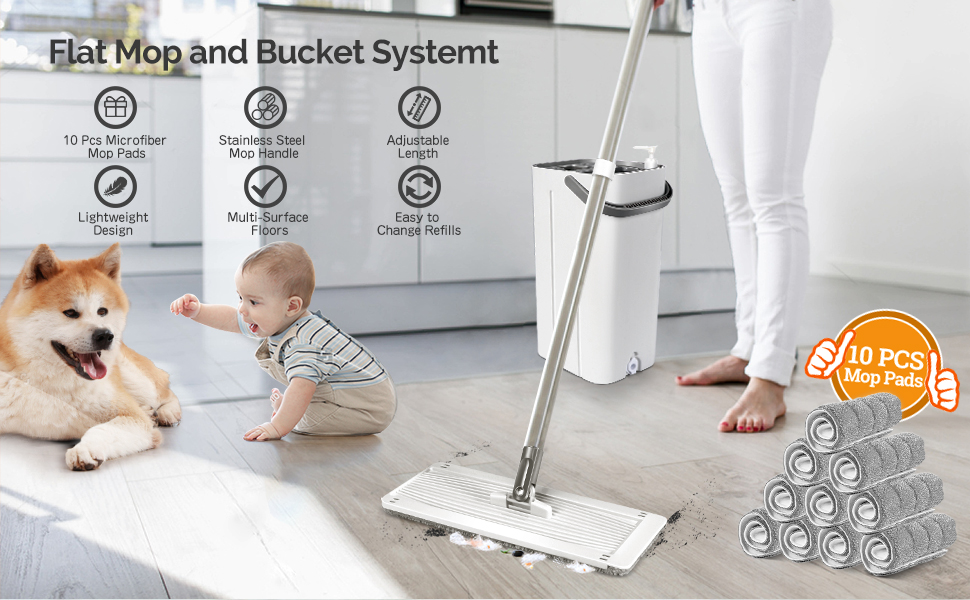 flat floor mop and bucket set