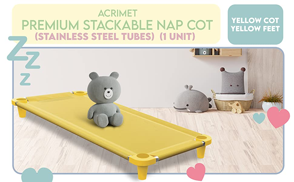 Acrimet Premium Stackable Nap Cot Stainless Steel Tubes Yellow Cot Yellow Feet 1 Unit