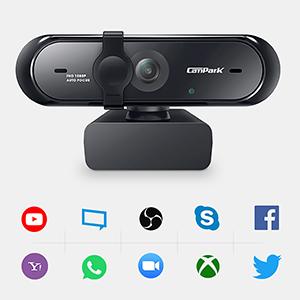 Campark Webcam 1080P, Cámara Web con Micrófono Enfoque