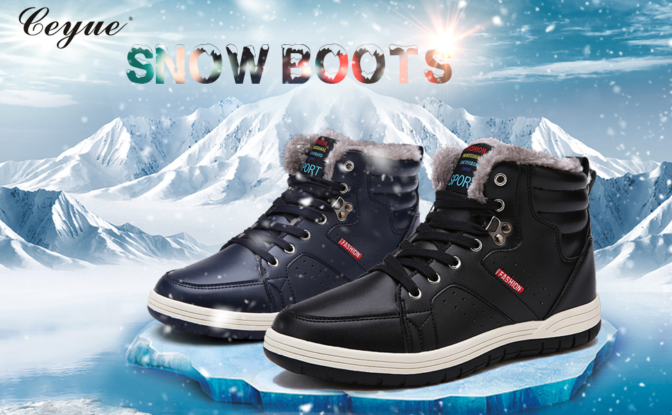 Winter Mens High Top Work Ankle Boots Shoes Fur Inside Warm Snow Walking Flats L