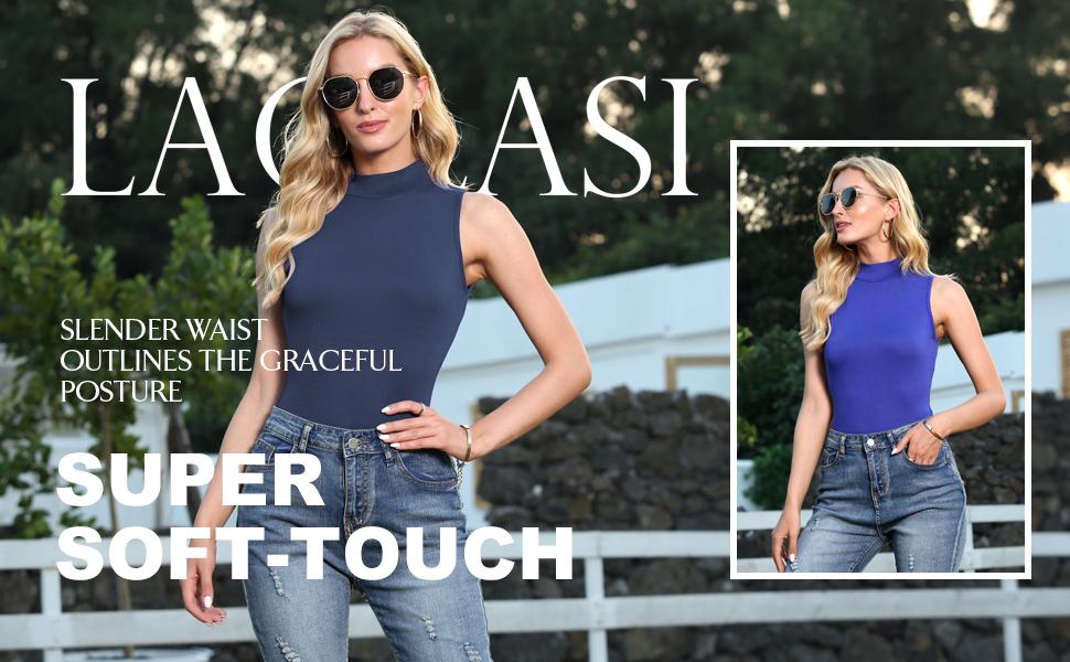 LAOLASI Women's Turtleneck high neck Sleeveless Slim Fit Casual Sexy Basic Extender Bodysuit