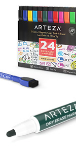 Dry-Erase-Markers-Assorted-Colors-Fine-Tip-with-Magnetic-Eraser-Cap---Set-of-24