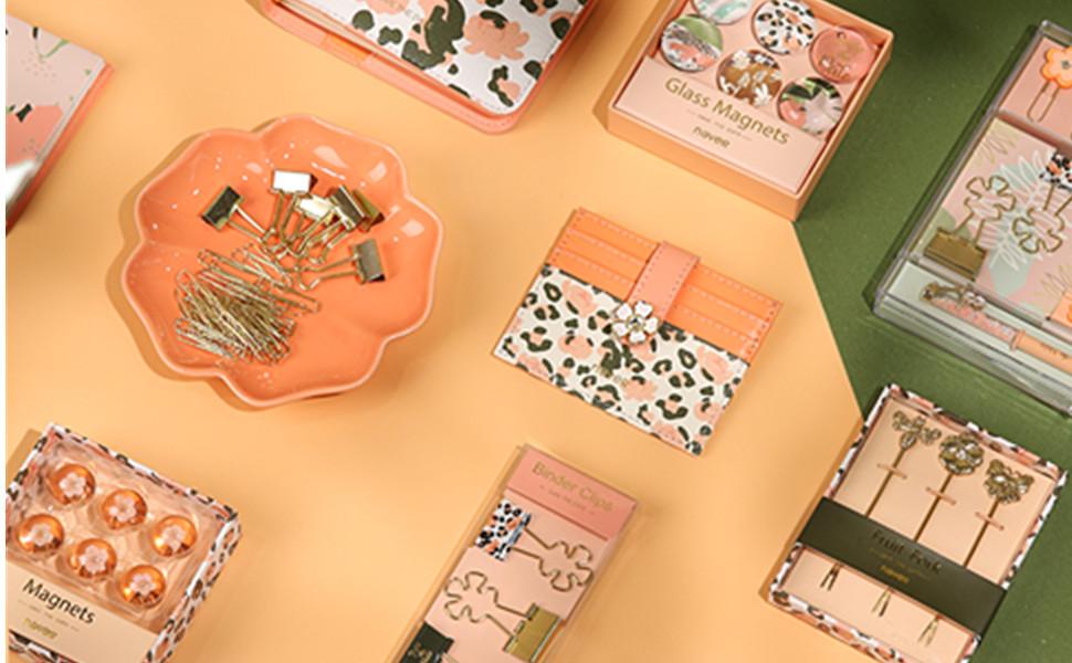 leopard stationery set ballpoint pen memo pads