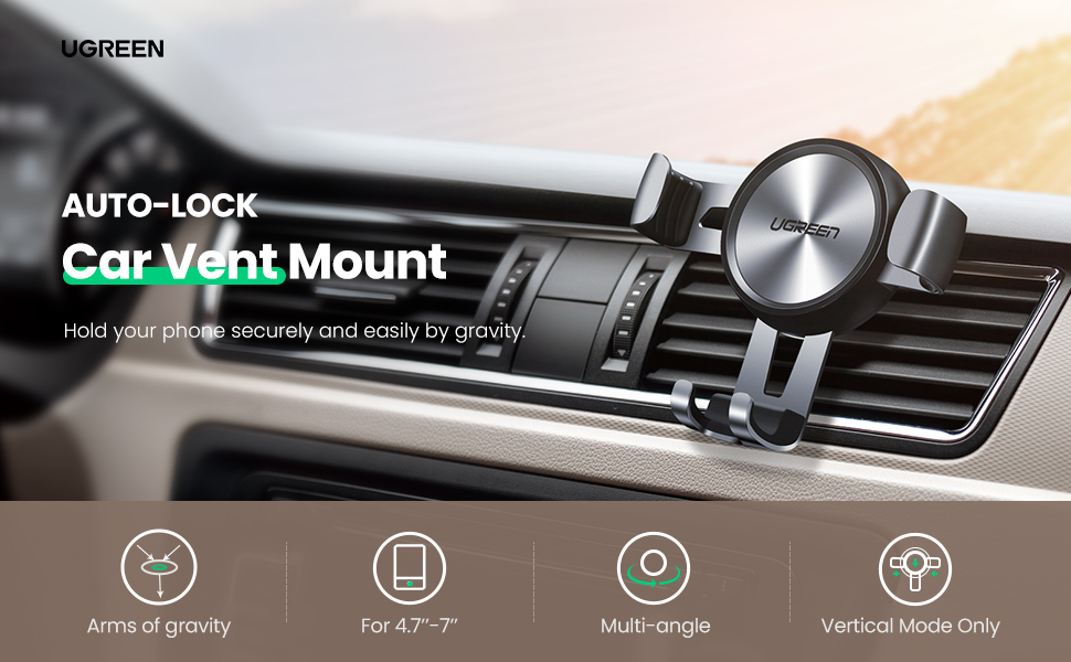 ugreen car phone holder air vent auto clamping