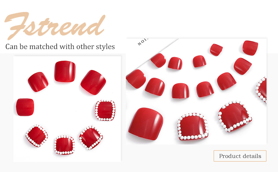 Fstrend 24Pcs Glossy Fake Toenails Red Pearls Full Cover Acrylic Fake Nails for Toes False Nails