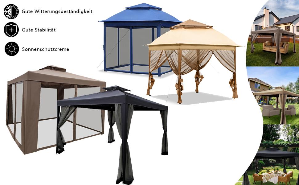 Beige Froadp Gartenpavillon 3x3m Doppelst/öckige Dachkonstruktion Pavillon mit Insektschutz Netz Sonnenschutz Festzelt Wasserdicht Faltbare Markisen f/ür Garten Hochzeit Bierzelt