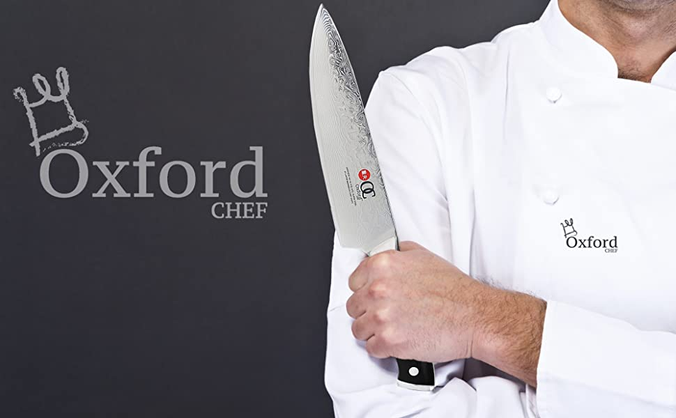 Chefs Knife 8 inch By Oxford Chef - Best Quality Damascus- Japanese- VG10 Super Steel 67 Layer High Carbon Stainless Steel-Razor Sharp, Stain & ...