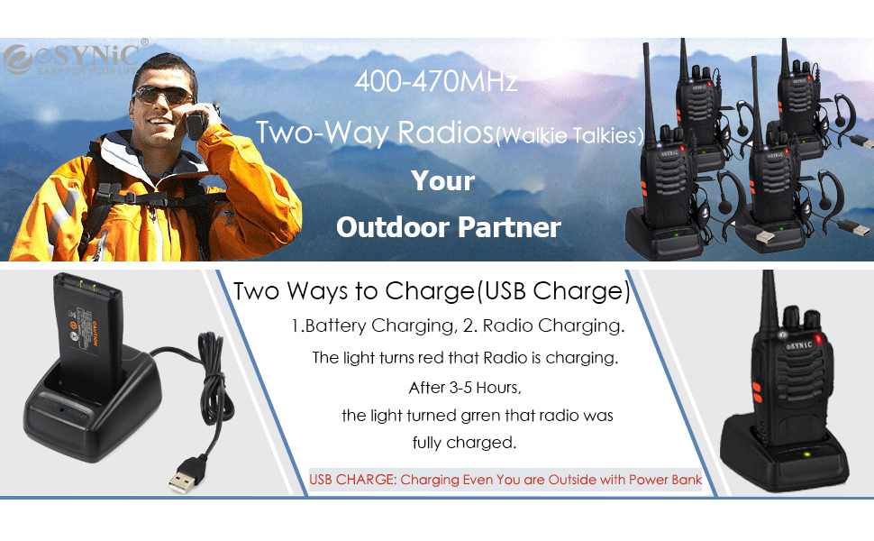 Rechargeable Walkie Talkies Long Range 4 Pack Two Way Radio with Earpieces Flashlight 16 Channel