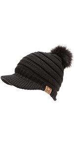 MIRMARU Women's Soft Warm Ribbed Knit Visor Brim Pom Pom Beanie Hat with Plush Lining