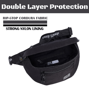 stylish classic black fanny pack hiking waist bag with durable nylon lining double layer protection