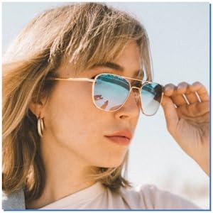 Fashion Sunglasses for women gradient lens lightweight light lens blue sunglasses for travel randolf