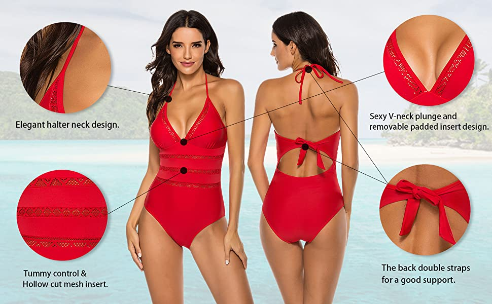 Urchics Womens Halter Plunge Monokini Swimwear One Piece Swimsuit Bathing Suit