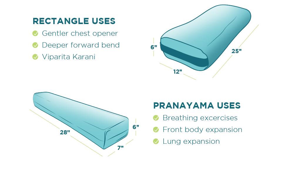bean products rectangle pranayama yoga bolster pillow