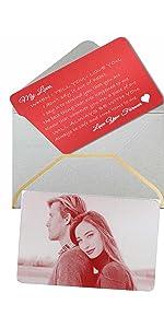 Laser engrave custom photo message love note wallet card valentine's gift anniversary deployment