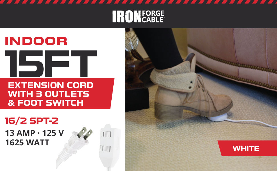 Iron Forge Cable 15ft 16/2 White Extension Cord with Foot Switch