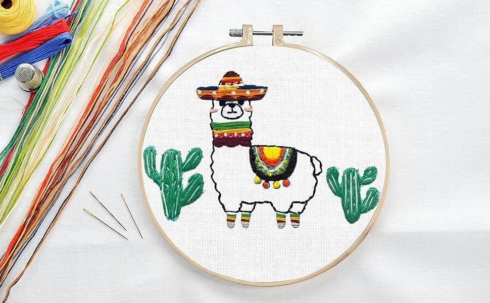 llam cactus embroidery kit