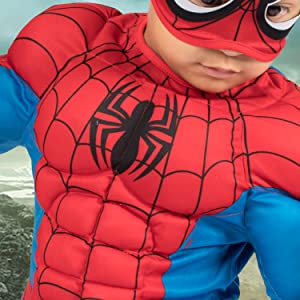 spider man jumpsuit closeup, superhero suit, red and blue, spider web print details, muscle costume
