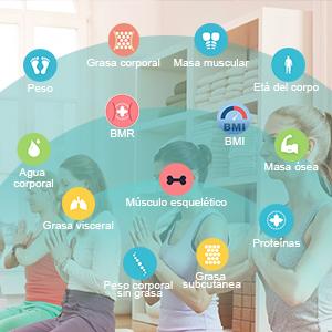 Báscula Grasa Corporal Báscula de Baño Bluetooth Analizar Más de 13 Funciones, Monitores de Composición Corporal por App, Medición de Alta Precisión ...