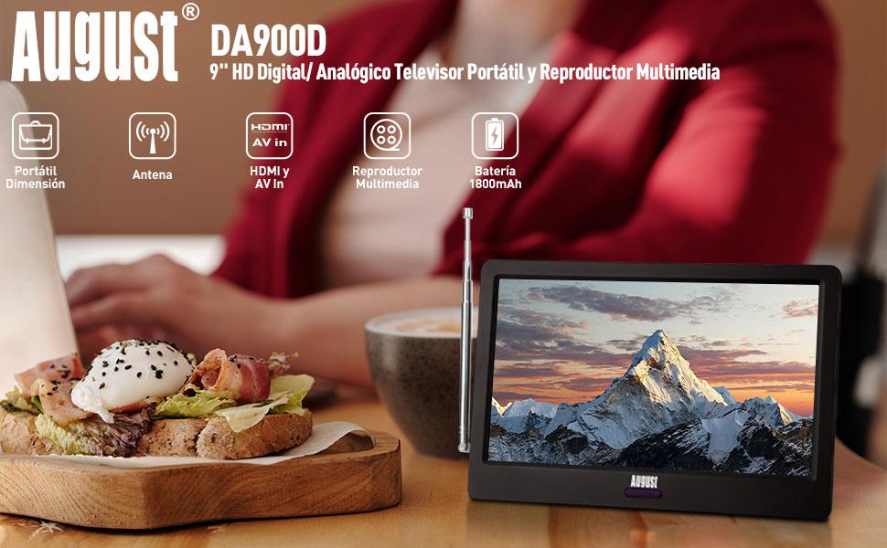9 Pulgadas TV Portátil - August DA900D Televisor Digital DVB-T-T2 /HEVC H.265 Pantalla LCD Pequeña TV Analógica con Puerto AV/ HDMI /USB 1800 mAh ...
