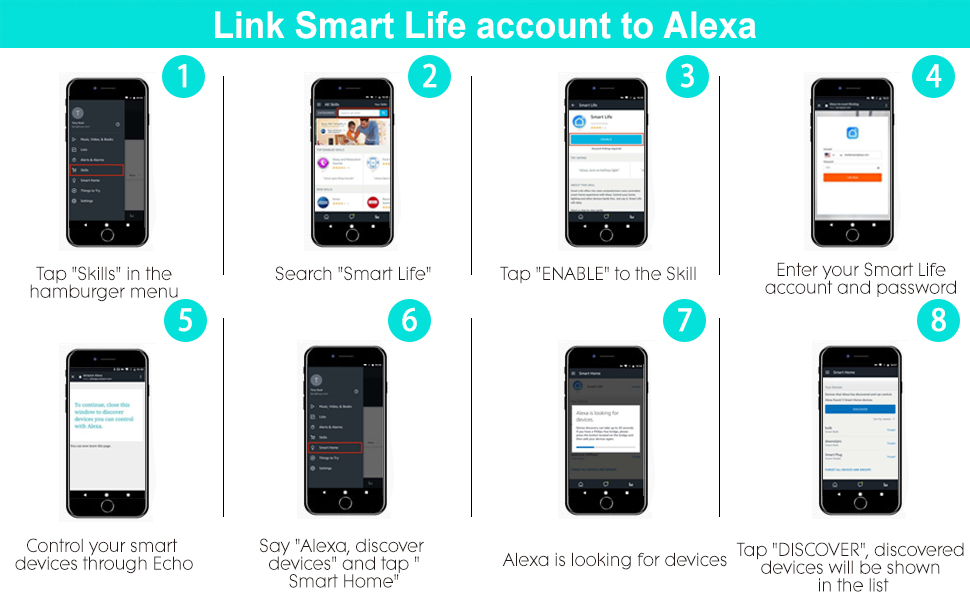 How to sync with Alexa?(Need download and connect to Smart Life app firstly)