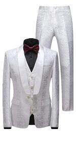 MOGU Mens 3 Piece Suit Slim Fit Shawl Lapel Tuxedo for Daily Business Wedding Party