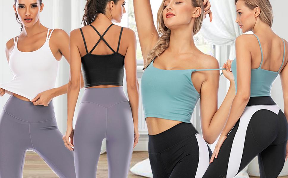 Women/'s Longline Sports Bra Wirefree Padded Medium Support Yoga Bras Gym Running Workout Tank Tops