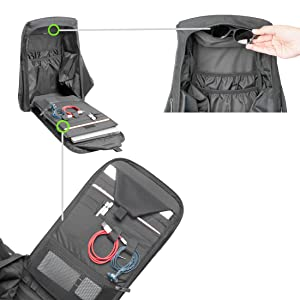 Efficient organizer in the ghost backpack