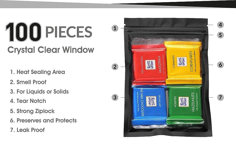 Black Mylar Bags with Ziplock 4.5 x 6.5 100 Bags Sealable Heat Seal