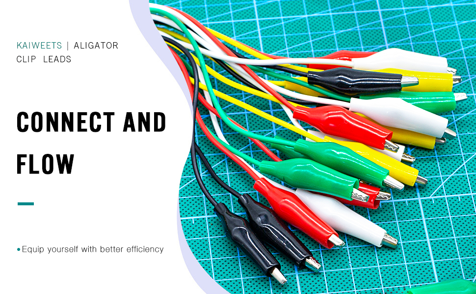 21 inches 5 Colors KAIWEETS Electrical Alligator Clips Test Leads Sets Soldered and Stamping Jumper Wires for Circuit Connection//Experiment 10 PCS