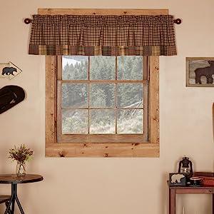 Prescott primitive country rustic Americana VHC Brands window panel swag valance prairie tier