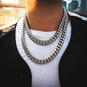 Miami Cuban Link Chain in White Gold (15mm)