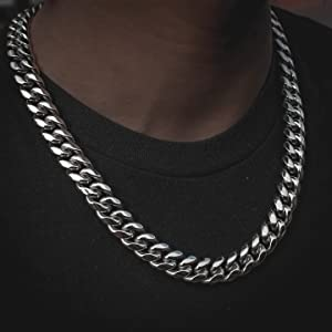Super Cool Men Silver Chain 15mm 316L Stainless Steel Miami Cuban Curb Link Chain