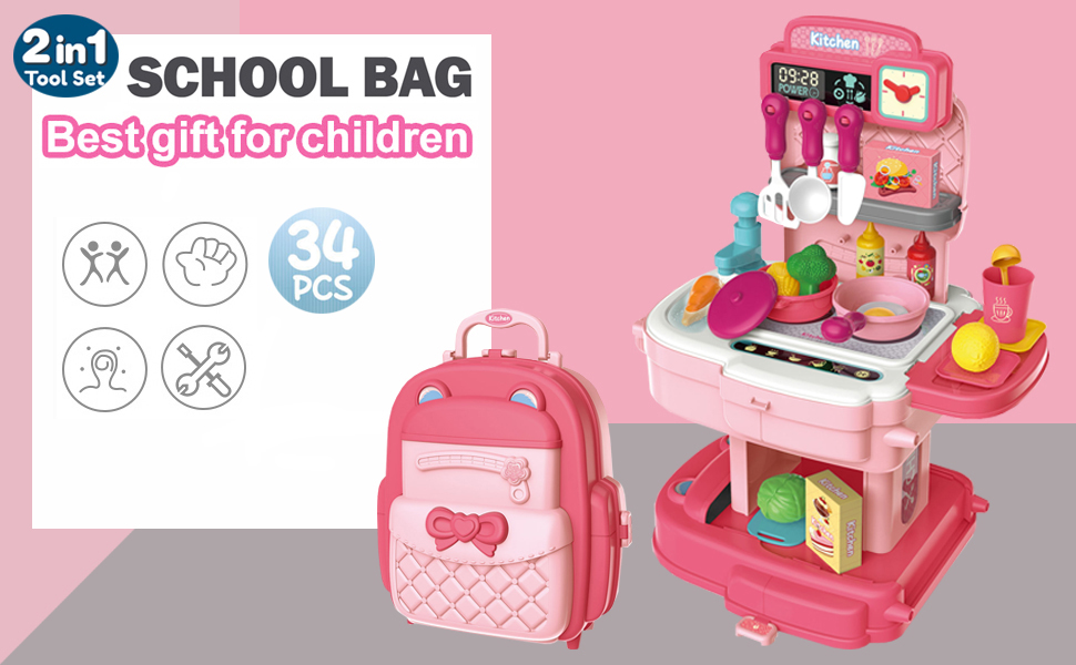 Pretend Play House Kitchen Toy Backpack