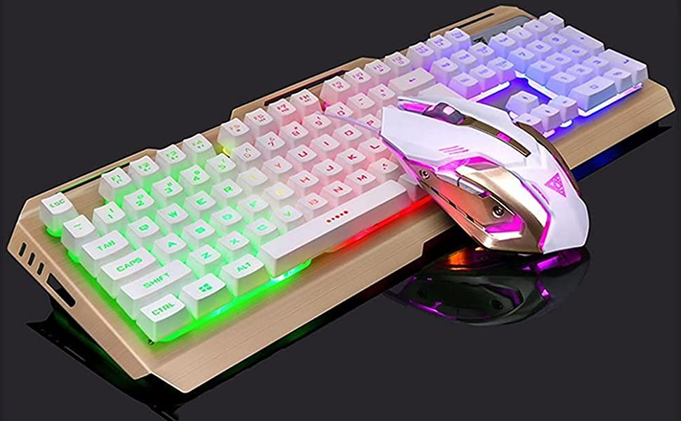 White Keyboard and Mouse for Gaming