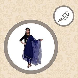 Shree Kanak Zari Creations Women's Banarasi Cotton Zari Weaved Dupatta SPN-FOR1
