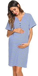 Women's Nursing/Delivery/Labor/Hospital Nightdress Short Sleeve Maternity Nightgown with Button
