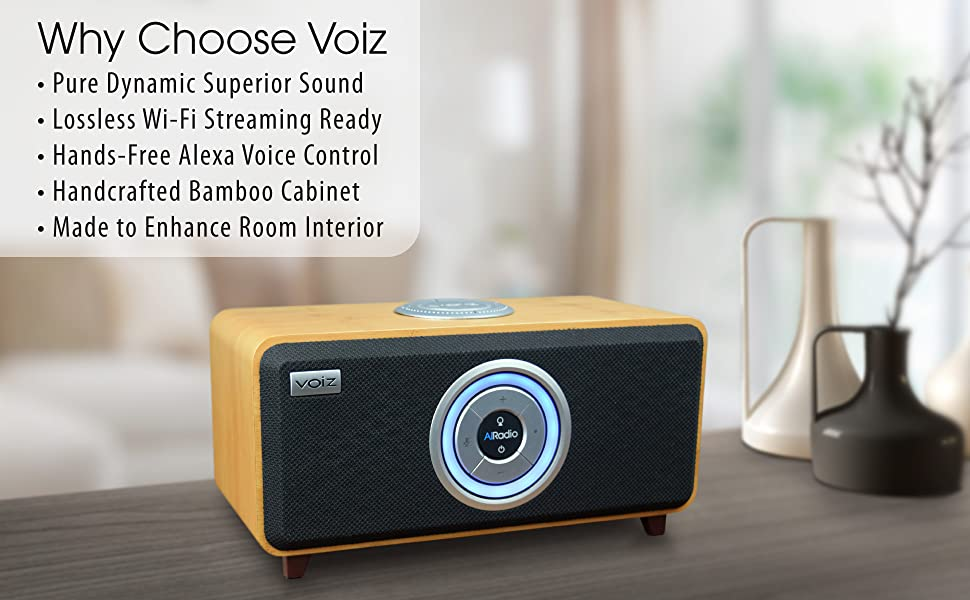 Voiz AiRadio Duo Pure Sound Lossless WiFi Streaming Handsfree Alexa Voice Control Bamboo Cabinet