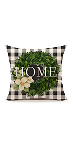 Porch black white green flowers seasonal holiday decoration lettering retro vintage happy 45x45
