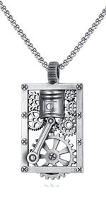Mens Necklace Steampunk Mechanic Gear Hip Hop