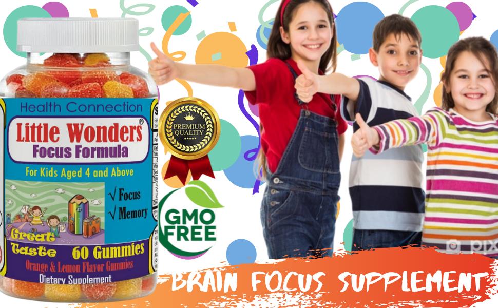 Amazon Com Brain Focus Chewable Gummies For Kids Teens Attention Memory Help Formula Supplements For Children Great Taste Focus Calming Multivitamins Gummy Natural Omega 3 6 9 Dha School Study Task