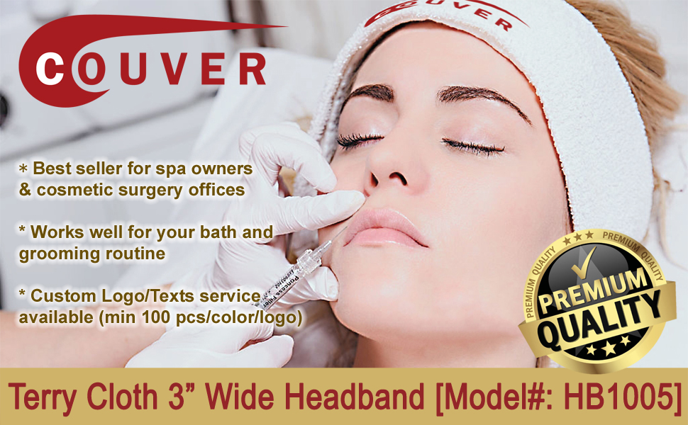 """COUVER 3"""" wide soft cotton terry headband white for cosmetic surgery office spa owners bath grooming"""