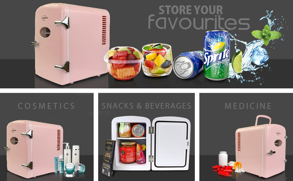 Mini Fridge, Bedroom, Refrigerator, Small, 6 can