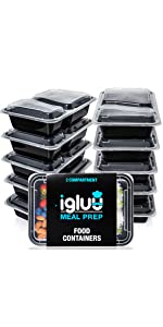 2 two double compartment Igluu meal prep containers single section sectioned trays tubs