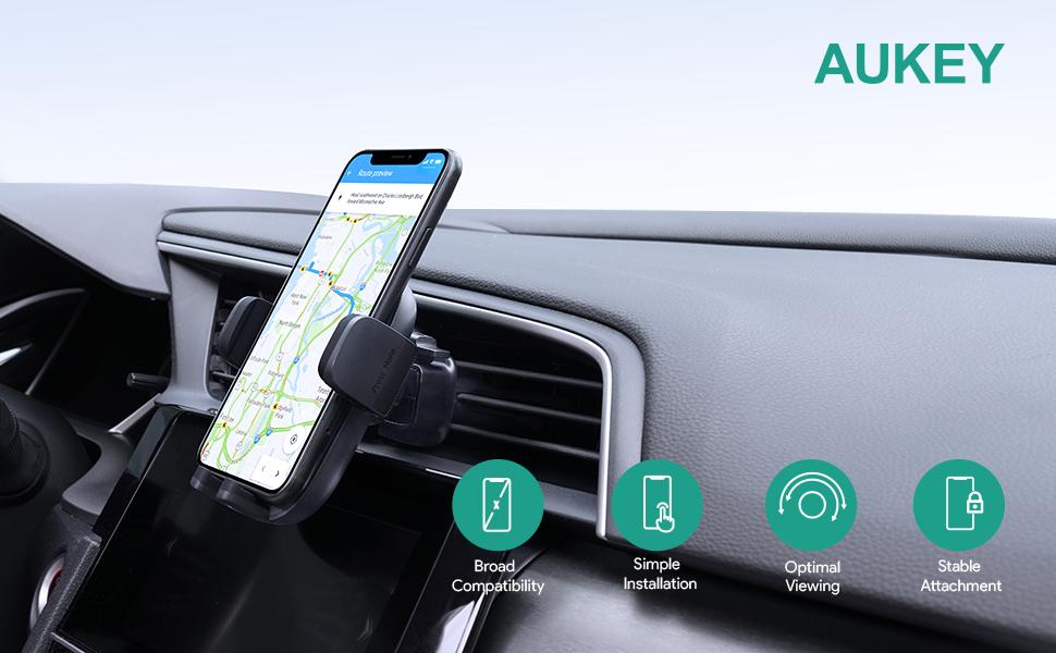 2021 Upgrade Aukey Handyhalterung Auto Mit Stärkerer Klammer Universale Handy Halterung Pkw Mit Silikonschutz Für Große Telefone Google Pixel 4xl Samsung Galaxy S20 Elektronik