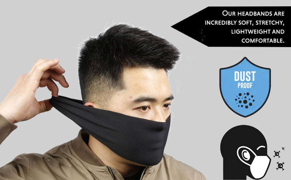 Stay Dry and Protected from Dust Aerosoles /& Elements 2in1 Headband /& Face Mask Performance Sweatband