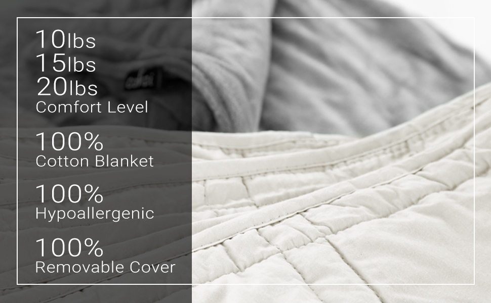 Weighted blankets, 10 lbs, 15 lbs, 20 lbs, comfort levels, 100% cotton blanket with removable cover