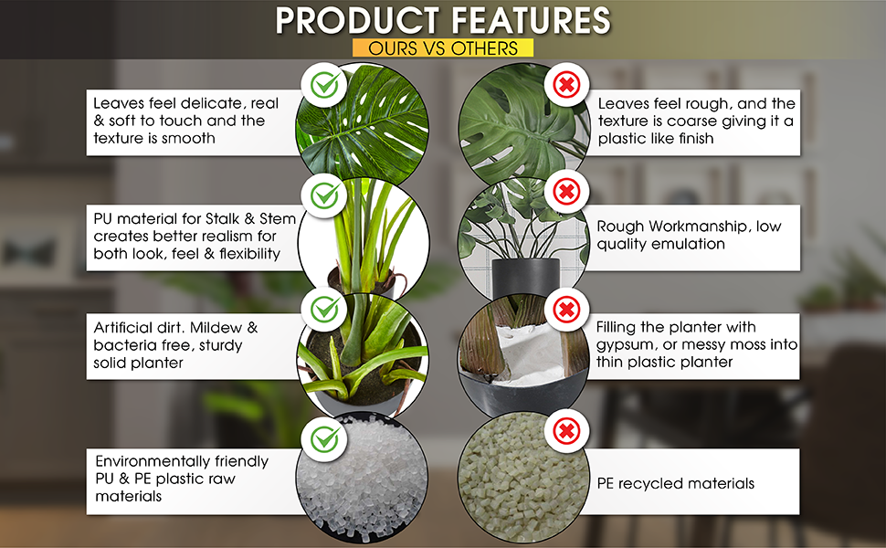 Product Features Leaves soft to touch realistic emulation modeled on live plant