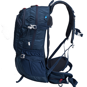 cushioned  shoulder straps and hip-belt promoting breathable air circulation along your shoulders